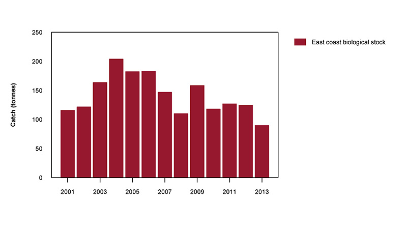 Figure 2: Commercial catch of Balmain Bugs in Australian waters, 2001 to 2013 (calendar years)