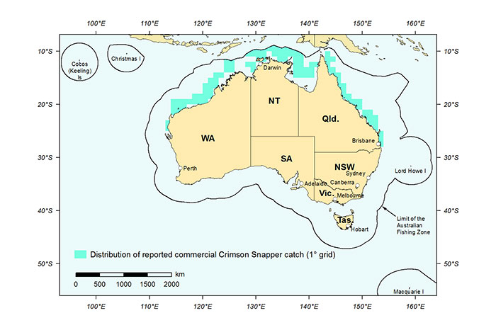 Figure 1: Distribution of reported commercial catch of Crimson Snapper in Australian waters, 2010